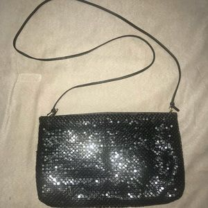 WHITING & DAVIS BLACK SEQUINED BAG